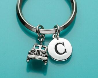 Jeep Keychain, Jeep Key Ring, Initial Keychain, Personalized Keychain, Custom Keychain, Charm Keychain, 206