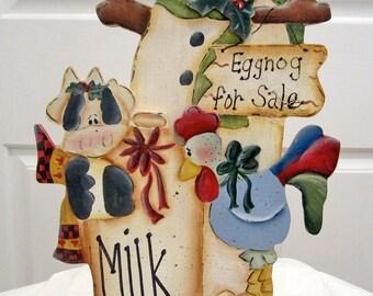 Christmas Snowman Decor Painted Wood Tole Decorative Painting Hand Painted Christmas Decor Shelf Sitter Tabletop Decor Winter Decor  Eggnog