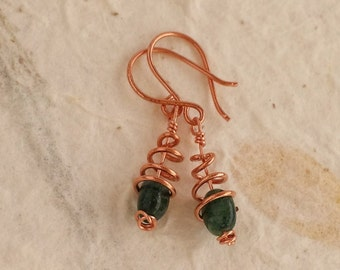 Aventurine gemstone and copper spiral earrings