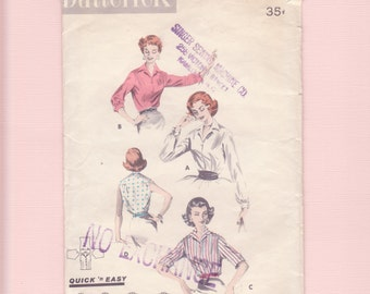 1950's Classic, Collar, Button up Top, Blouse/ Butterick 8097 Notched Collar, Yoked, Long Sleeve Blouse Sewing Pattern/ Size 12 14 Bust 34