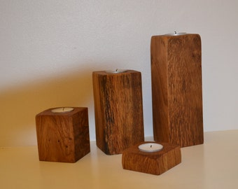 Tea light holders made of reclaimed oak