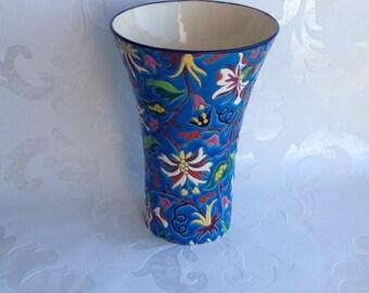 Authentic Longwy, enamel vase, Longwy vase, enamelled vase, collection vase, vase collectible,