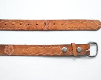 """Vintage Fish Tooled Leather Belt 37"""" - 43"""""""