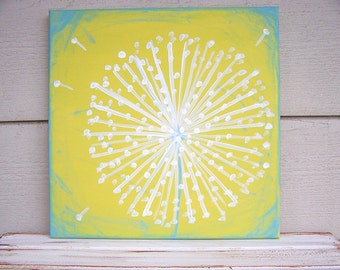 Dandelion Painting -Acrylic Painting-12 x 12-Rustic Nursery Painting-Shabby Chic Nursery Wall Decor-Distressed Painting-Lime Green- Sea Blue