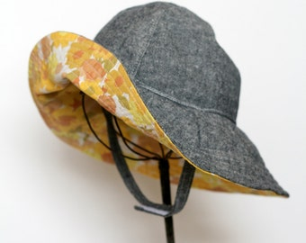 Baby Girl Denim Sun Hat with Vintage Yellow Floral Brim || Limited Edition