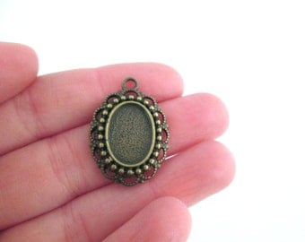 10x14mm brass bezel pendants, pick your amount B220