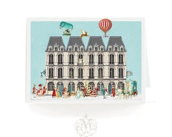 Christmas card, French houses and a vintage holiday Paris street scene with Marie Antoinette and hot air balloons