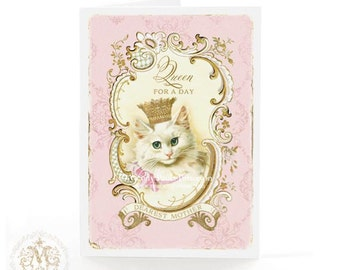 Cat card, Mothers day card, birthday card, Queen for a day, Mom, crown, vintage cat, cat lovers card, pink, gold, vintage style, blank