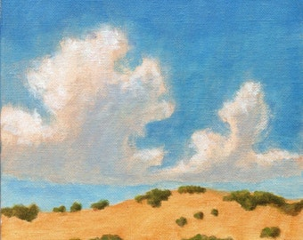 Summer Hills Sonoma - Original Landscape Painting Clouds Rolling Hills and California Vineyard