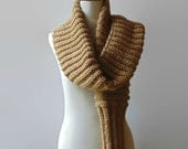 Chunky Scarf Knitted in Ocher Soft Wool - Man - Woman