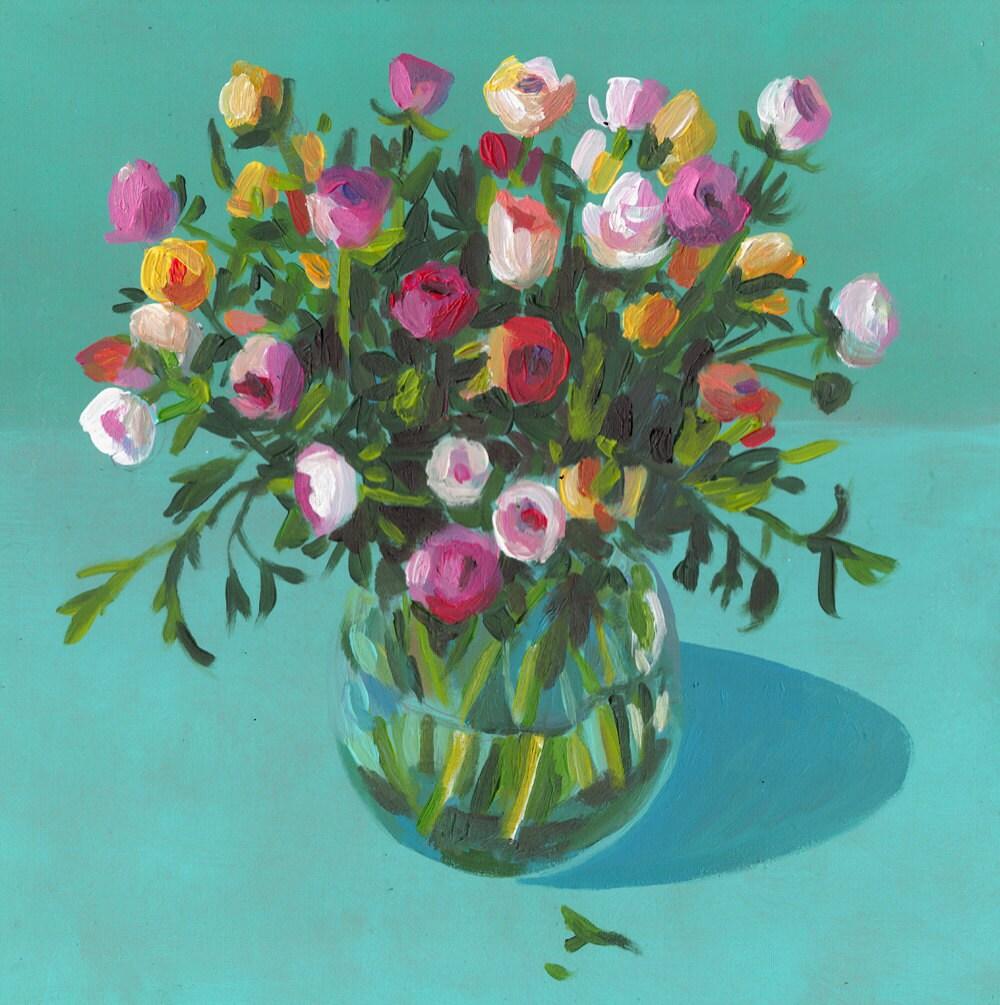 Bouquet De Fleurs Original Peinture Acrylique Sur Mdf
