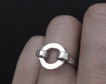 Silver Circle Ring - Captured Circle Design- Sterling Silver - Handmade Silver Jewelry - Made in Austin,Tx