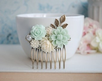 Mint Chrysanthemum, Soft Green Rose, Rose, White, Pearl, Brass Leaf, Flower Hair Comb. Bridesmaids Gift, Bridal Hair Accessory. Mint Wedding