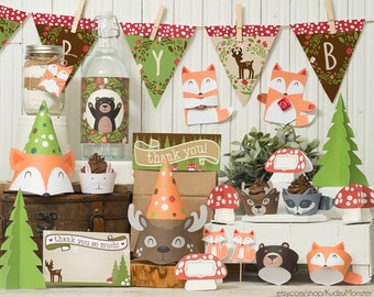 Woodland Party printable decor kit fox baby deer raccoon bear bunny Forest animals cupcake wrappers banner favors DIY baby shower birthday