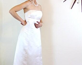 J.Crew gown, silk wedding dress, Column Wedding Dress, Strapless wedding Gown, simple wedding dress, A-Line gown, Ivory Bridal Gown, Size 8