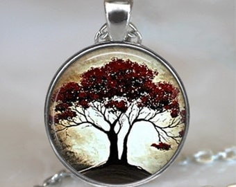 Moonlight and Oak Tree pendant, resin pendant  tree necklace, tree jewelry, nature lover jewelry, tree lover pendant, key chain keychain