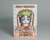 Christmas Card / Holiday Card - Cat's Christmas Dinner