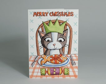 Christmas Card / Holiday Card - Cat's Christmas Dinner