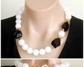 RESERVED FOR CS: Ashira Black & White Statement necklace, black quartz, crackled white Crystals, 24k Gold Vermeil Nuggets