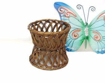 Vintage Brass Basket | Double Sided Basket | Bottle Holder | Small Wire Basket | Wine Bottle Coaster Holder