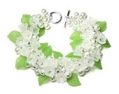Lily of the Valley Bracelet, White Flower, Clear Swarovski Crystal, Pearl Clusters, Silver, Spring Wedding Bridal Jewelry, Mother's Day Gift