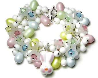 EASTER BUNNY Charm Bracelet, Swarovski Crystal, Pastel Egg Pink Blue Green Yellow, White Acrylic Spring Flower Bead, Silver Jewelry Gift Box