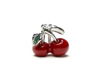 WILD CHERRY Pendant Necklace, Ripe Red Cherry, Silver Charm Necklace, Swarovski Crystal, Miniature Food, Fruit Jewelry, Rockabilly Teen Gift