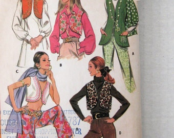 1960s Hippie Vest and Scarf Pattern, McCalls 9809, Womens Cropped or Hip Length Vest Sewing Pattern, Monogram Transfer, Misses 10, Bust 32.5