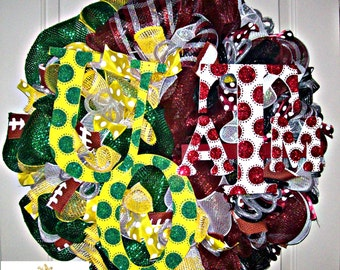 Deco Mesh House Divided Oregon and Texas A&M Wreath, deco mesh wreath, football wreath, wreath