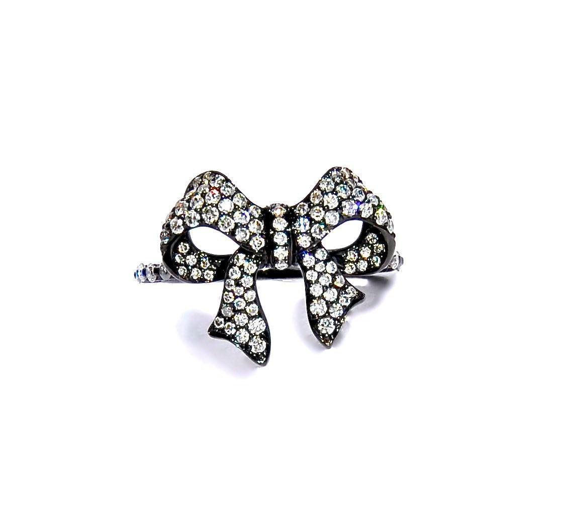 Black Flower Bow With Diamond: 18k Black Pave Diamond Bow Ring By Theodele On Etsy