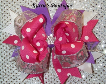 Pink Hair Bow or Headband / Purple & Silver / Over the Top Bow / Pageant / Photo Prop / Birthday / Infant / Baby / Girl / Toddler / Boutique