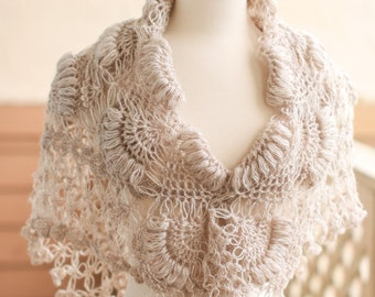 Bridal Shawl, Bridal Bolero, Shawl,Bolero,Shrug,Bridal Shrug, Bridal accessories, Bolero, Crochet Shawl, Wedding shawl, Cream Shawl