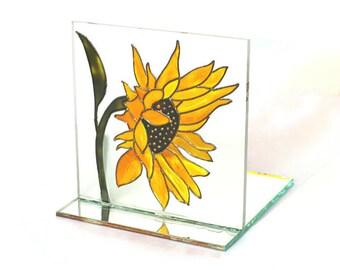 Candle Holder with Sunflower Design, Light Catcher, Tea Light Holder, Painted Glass, Sunflower, Home Decor, Handmade, Candle Light Holder