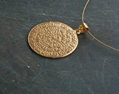 Gold Greek Phaistos Disc Necklace, Ancient Minoan Cretan Necklace, Sterling Gold Plated 24k  , Greek Mystery, Wearable Art, Greek Jewellery