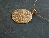 Gold Greek Phaistos Disc Necklace, Ancient Minoan Cretan Necklace, Sterling Gold Plated 24k  , Greek Mystery, Wearable Art, Greek Jewellery