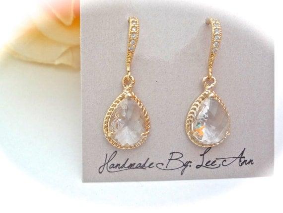Gold teardrop earrings - 14k Gold over Sterling Cubic Zirconia ear wires, Wedding earrings, High quality,Brides jewelry,Bridesmaids earrings