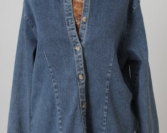 Spring Sale, 80s BILL BLASS Jeans Button Down Shirt, Blue Chambray Denim Blouse, Womens Size Large, Collared Classic, Americana, Long Sleeve