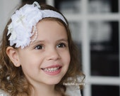 WHITE Cross Baptism Vintage Headband/White Headband /baby Girl Headband  /photo prop