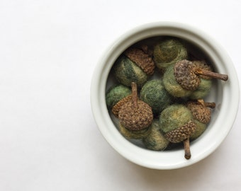 Forest Green Felted Acorns