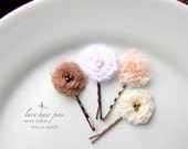 PICK 4 Shabby Flower Hair Pins, Lace Bridal Floral Hairpins, Tiny Fabric Flower, Nude Blush Champagne Ivory White Wedding Hair flowers 1""