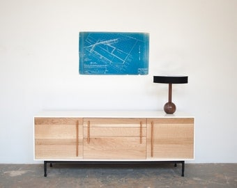 Modern Media Cabinet / Credenza - White Oak Walnut and Leather