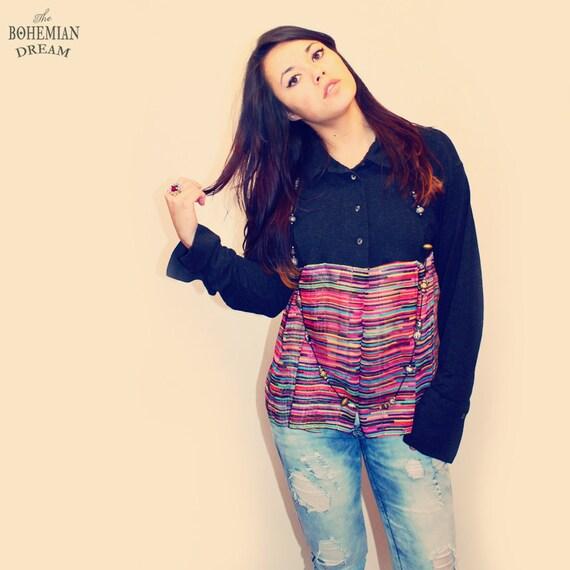 bohemian cardigan top striped sheer see through jacket button