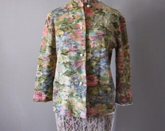 50s Floral Wool Cardigan Sweater Spring Womens Sz Medium