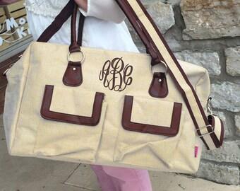 Jute Weekender Duffle Bag Monogram Font Shown MASTER CIRCLE in brown