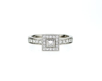 0.66ct Princess cut diamond halo engagement ring, white gold, yellow gold, rose gold, bezel ring, engagement ring, square diamond, unique