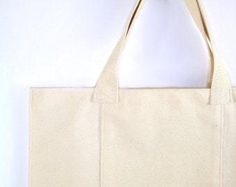 Tote Bag with Long Pockets on Both Sides, Strong Reuable Washable, All Natural Canvas, Grocery Sack, Environmentally Friendly