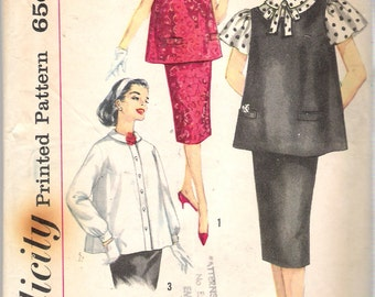 Vintage 1959 Simplicity 3276 Three Piece Maternity Outfit Sewing Pattern Size 12 Bust 32""