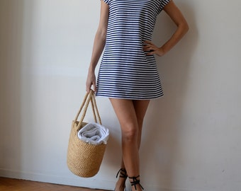 Nautical sailor stripe t shirt dress tunic / Loose fit dress / Blue and white / Cap sleeve / Made to Order