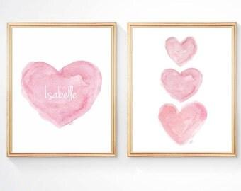 Pink Nursery Set of 2 - 8x10 Prints, Nursery Artwork, Newborn Gift, Girl Nursery Decor, Personalized Baby, Pink Nursery Decor, New Baby Gift