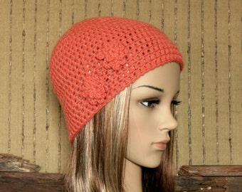 Crochet Hat, Womens Hat, Orange Beanie, Crochet Wool Flower, Winter Hat, Student Beanie, Australia.